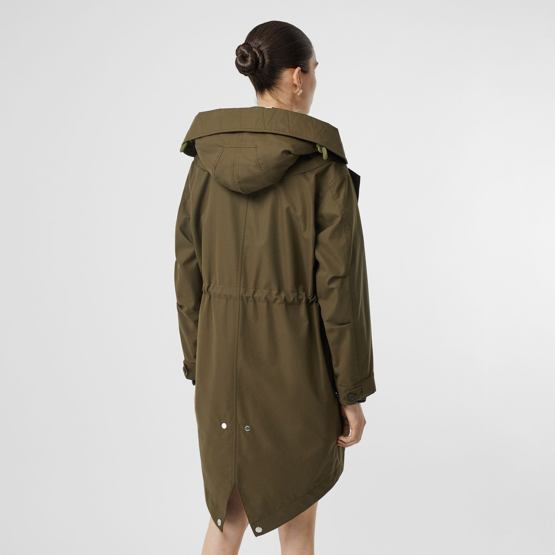 Detachable Hood Cotton Gabardine Parka in Dark Military Khaki - Women | Burberry - gallery image 2