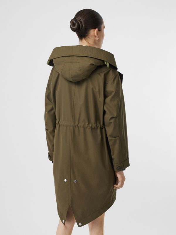 Detachable Hood Cotton Gabardine Parka in Dark Military Khaki - Women | Burberry - cell image 2