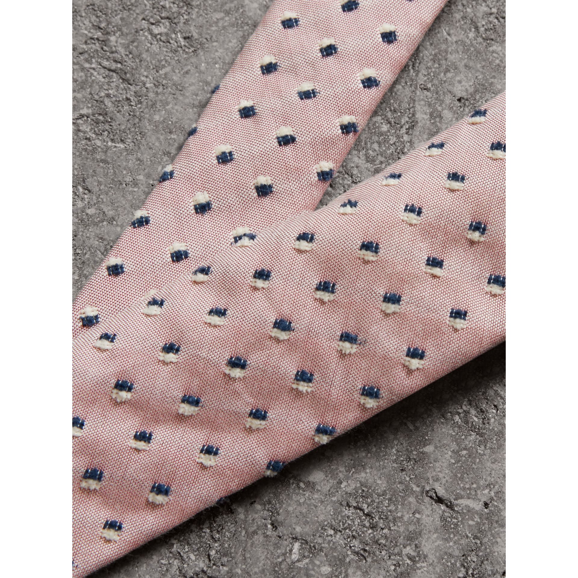 Slim Cut Chenille Dot Cotton Silk Tie in Pink Apricot - Men | Burberry - gallery image 1
