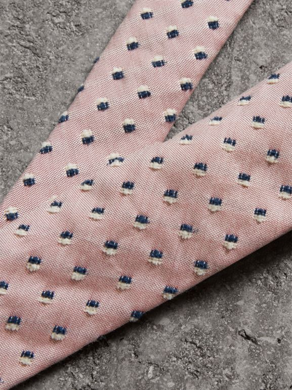 Slim Cut Chenille Dot Cotton Silk Tie in Pink Apricot - Men | Burberry - cell image 1