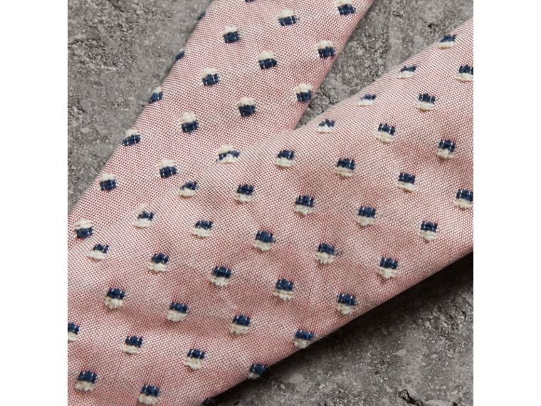 Slim Cut Chenille Dot Cotton Silk Tie in Pink Apricot - Men | Burberry Singapore - cell image 1
