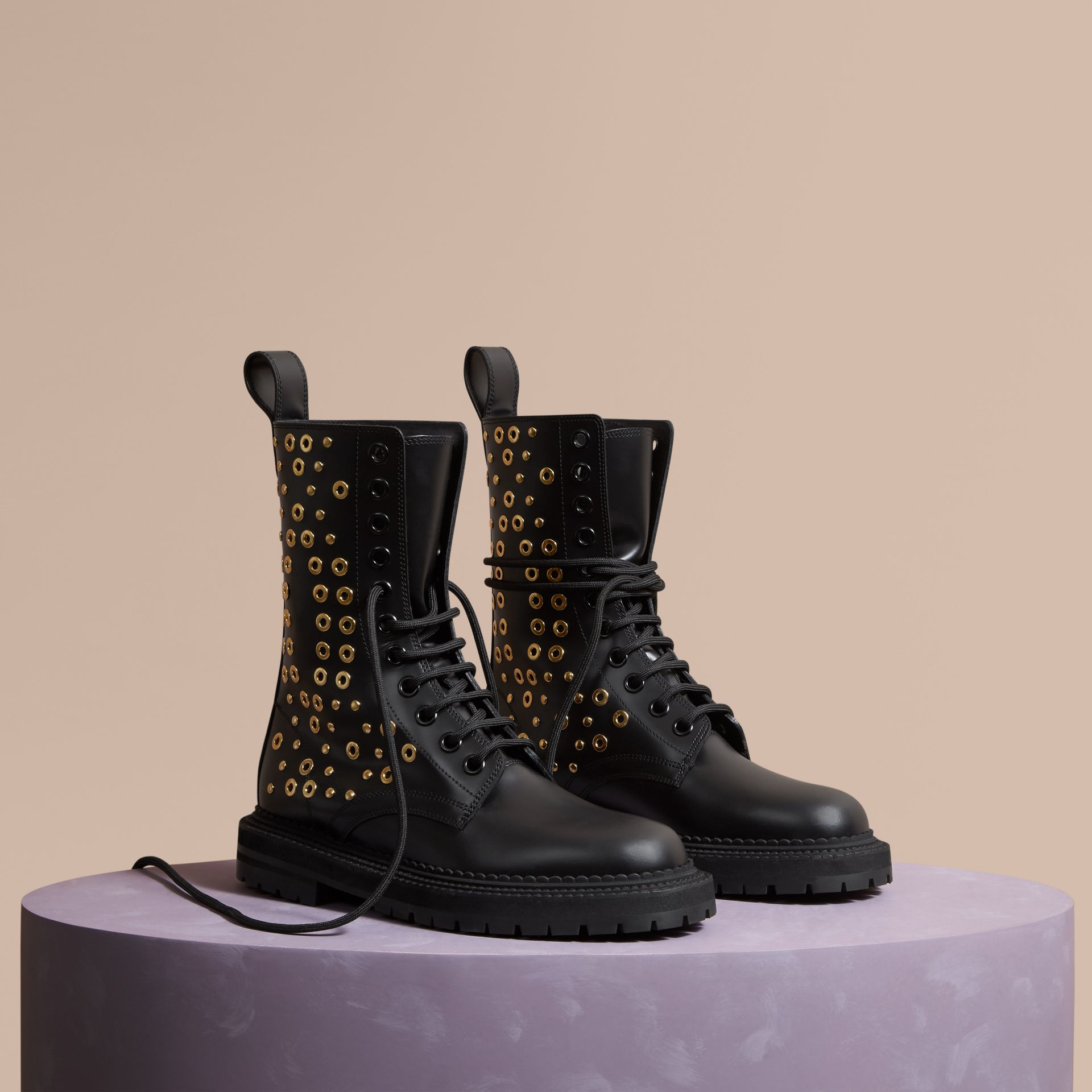 Black Eyelet and Rivet Detail Leather Army Boots - gallery image 1