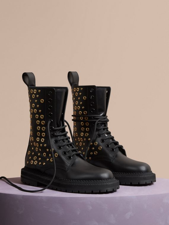 Eyelet and Rivet Detail Leather Army Boots