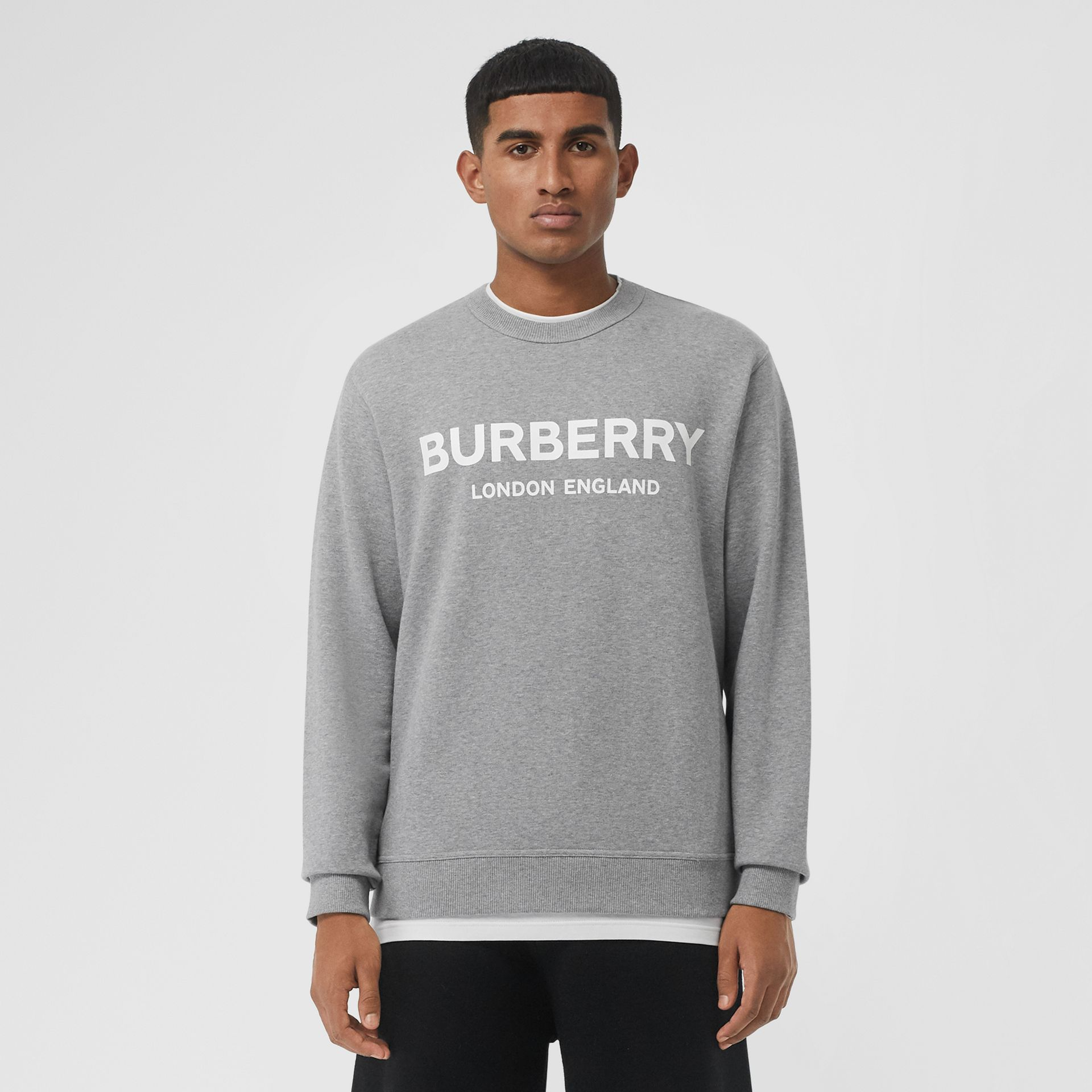 Logo Print Cotton Sweatshirt in Pale Grey Melange - Men | Burberry Singapore - gallery image 4