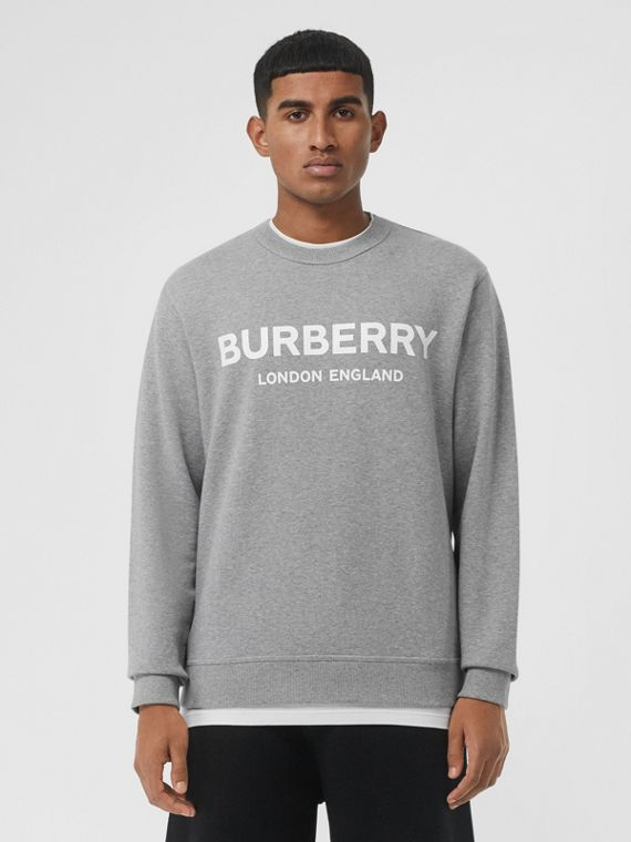Logo Print Cotton Sweatshirt in Pale Grey Melange