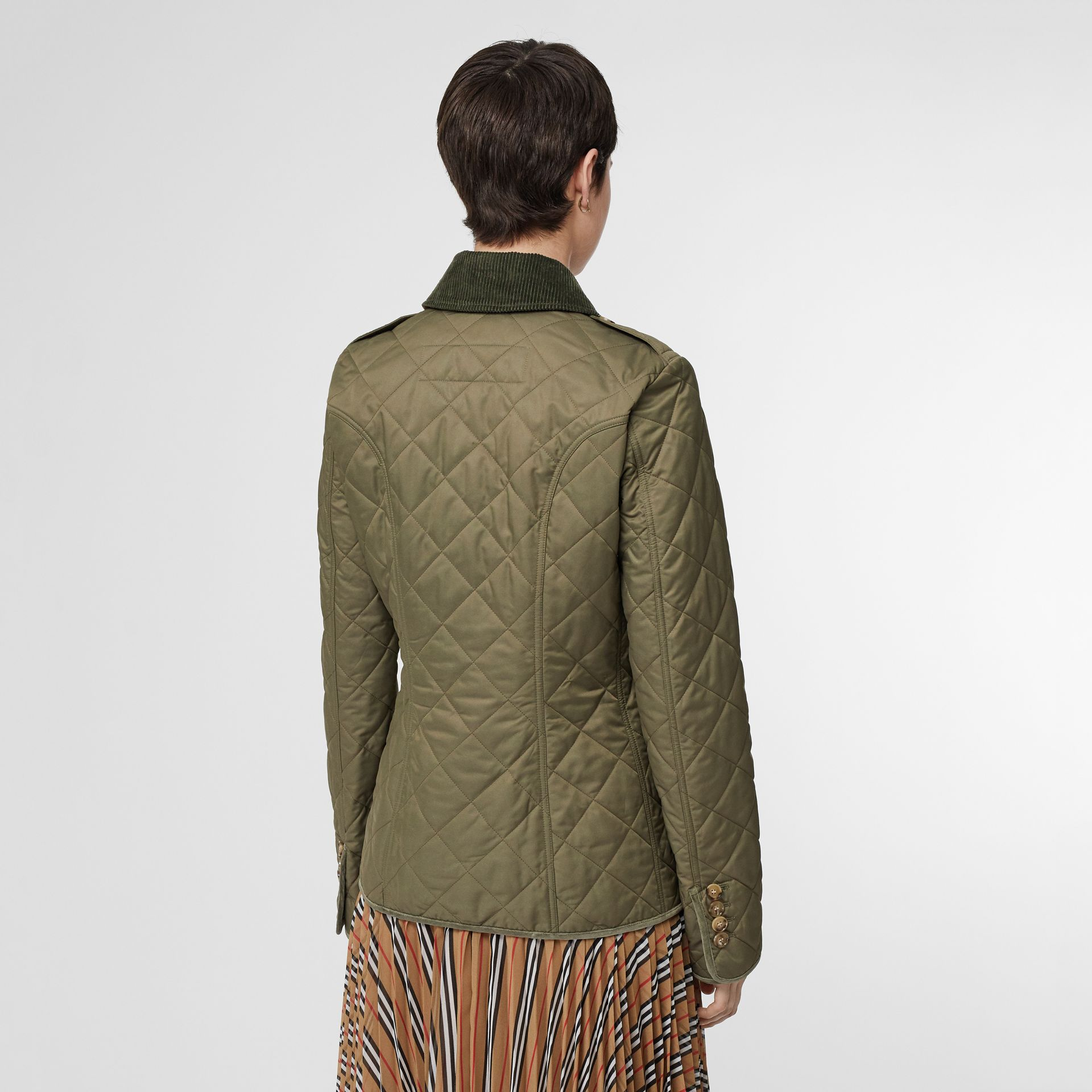 Monogram Motif Diamond Quilted Jacket in Olive Green - Women | Burberry Canada - gallery image 1
