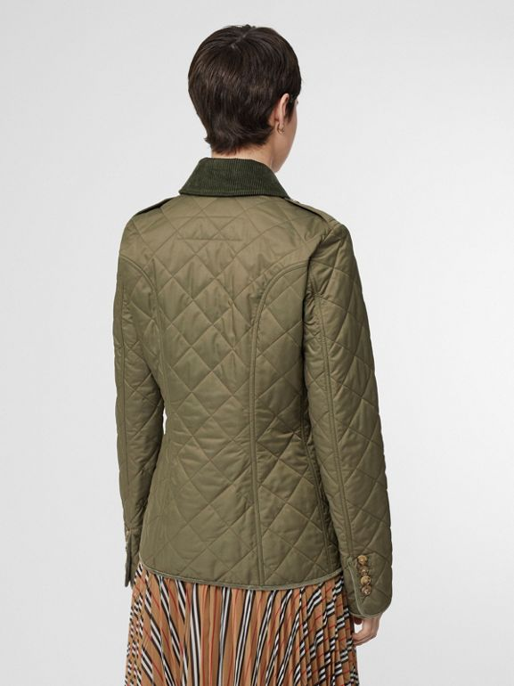 Monogram Motif Diamond Quilted Jacket in Olive Green - Women | Burberry - cell image 1