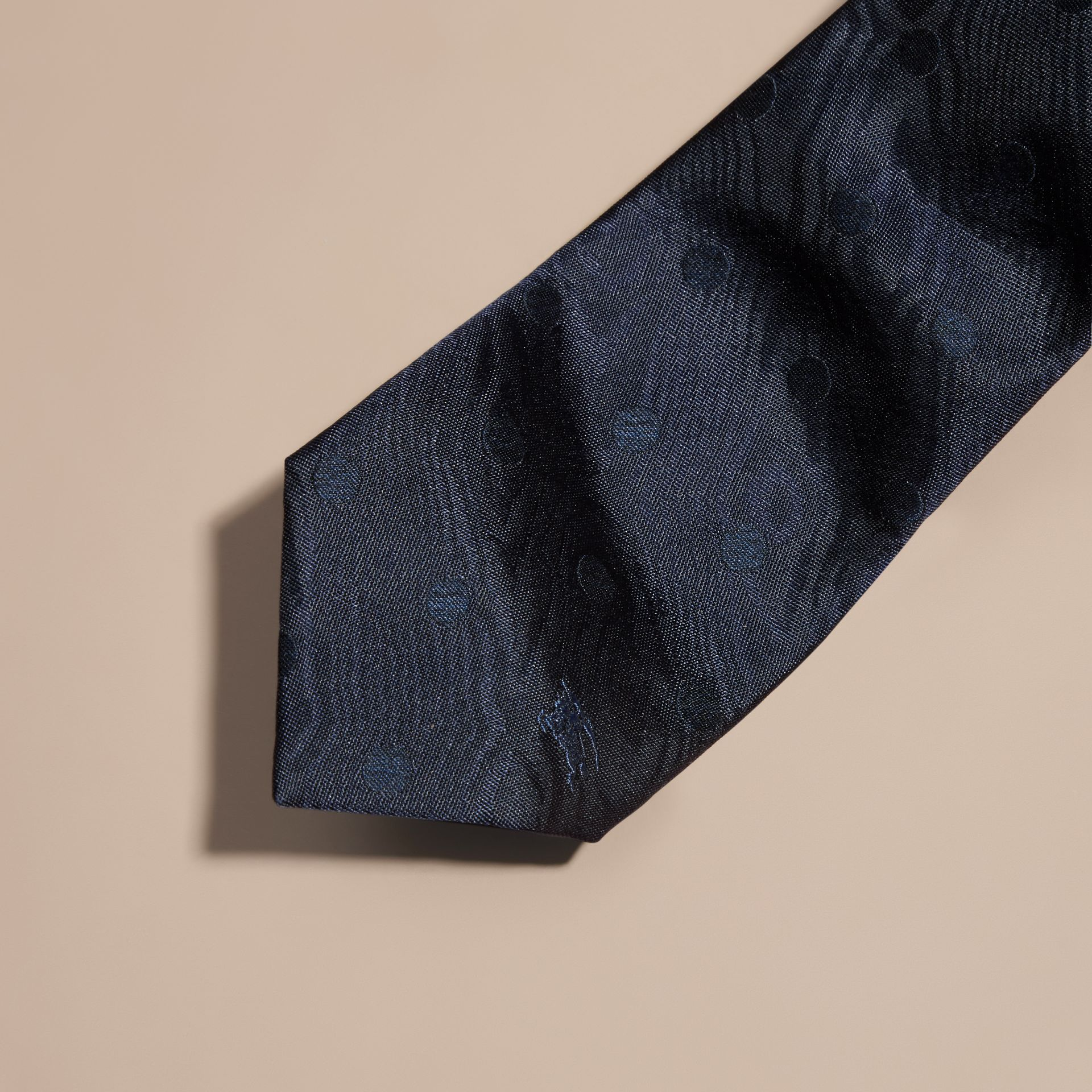 Navy Modern Cut Polka Dot Silk Tie Navy - gallery image 2