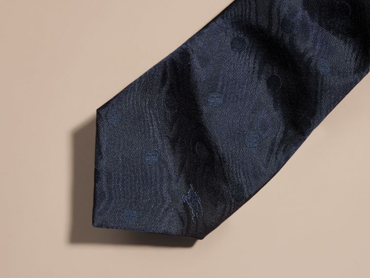 Navy Modern Cut Polka Dot Silk Tie Navy - cell image 1