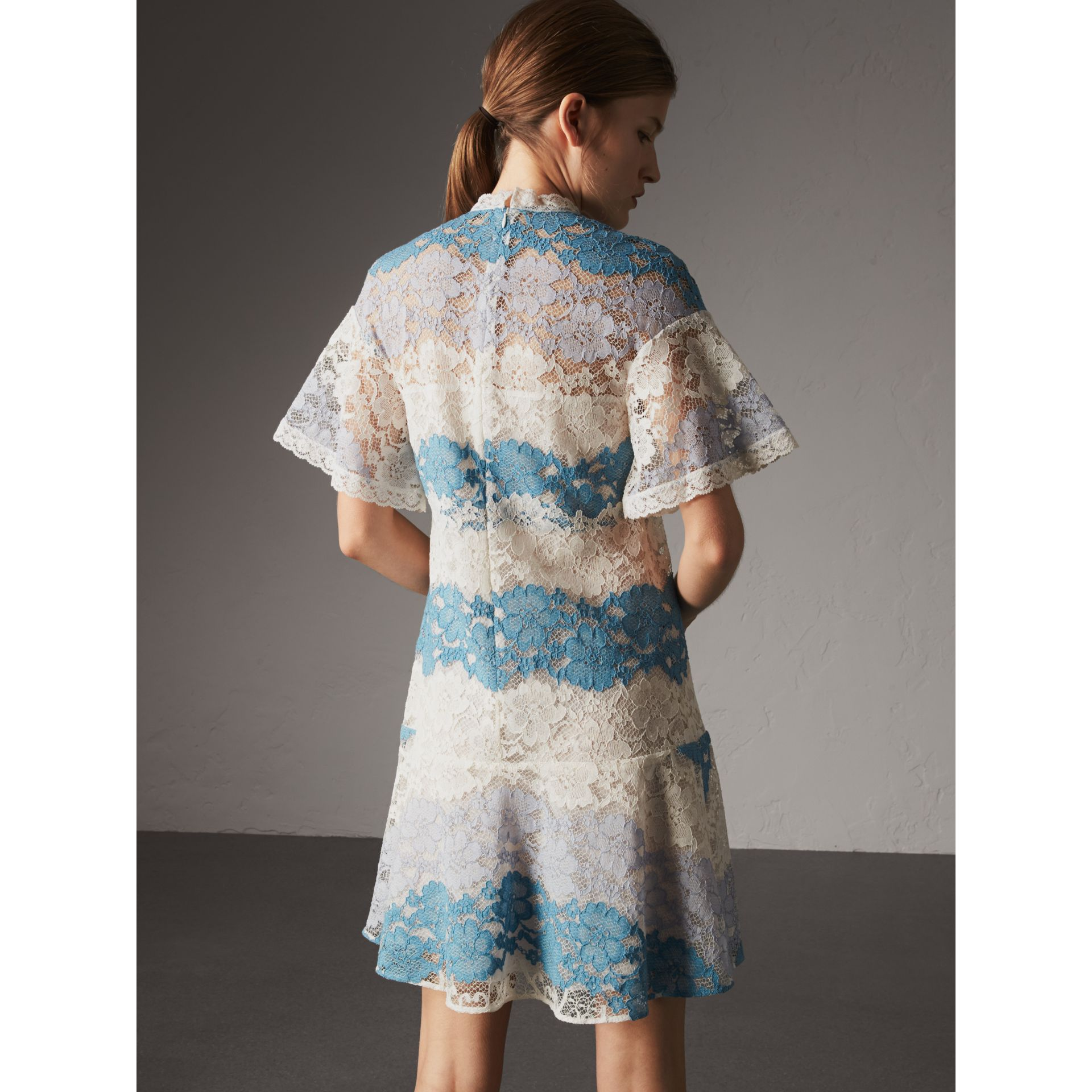 Floral Lace Dress with Flutter Sleeves in Slate Blue - Women | Burberry - gallery image 3