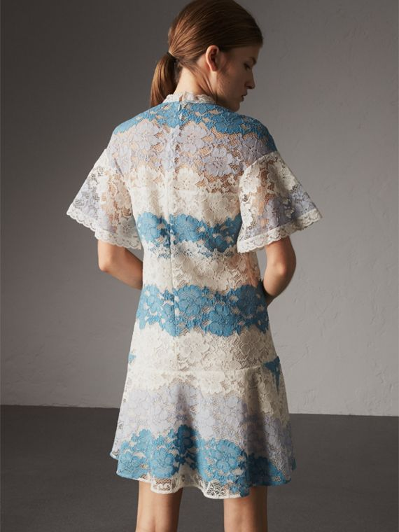 Floral Lace Dress with Flutter Sleeves in Slate Blue - Women | Burberry - cell image 2