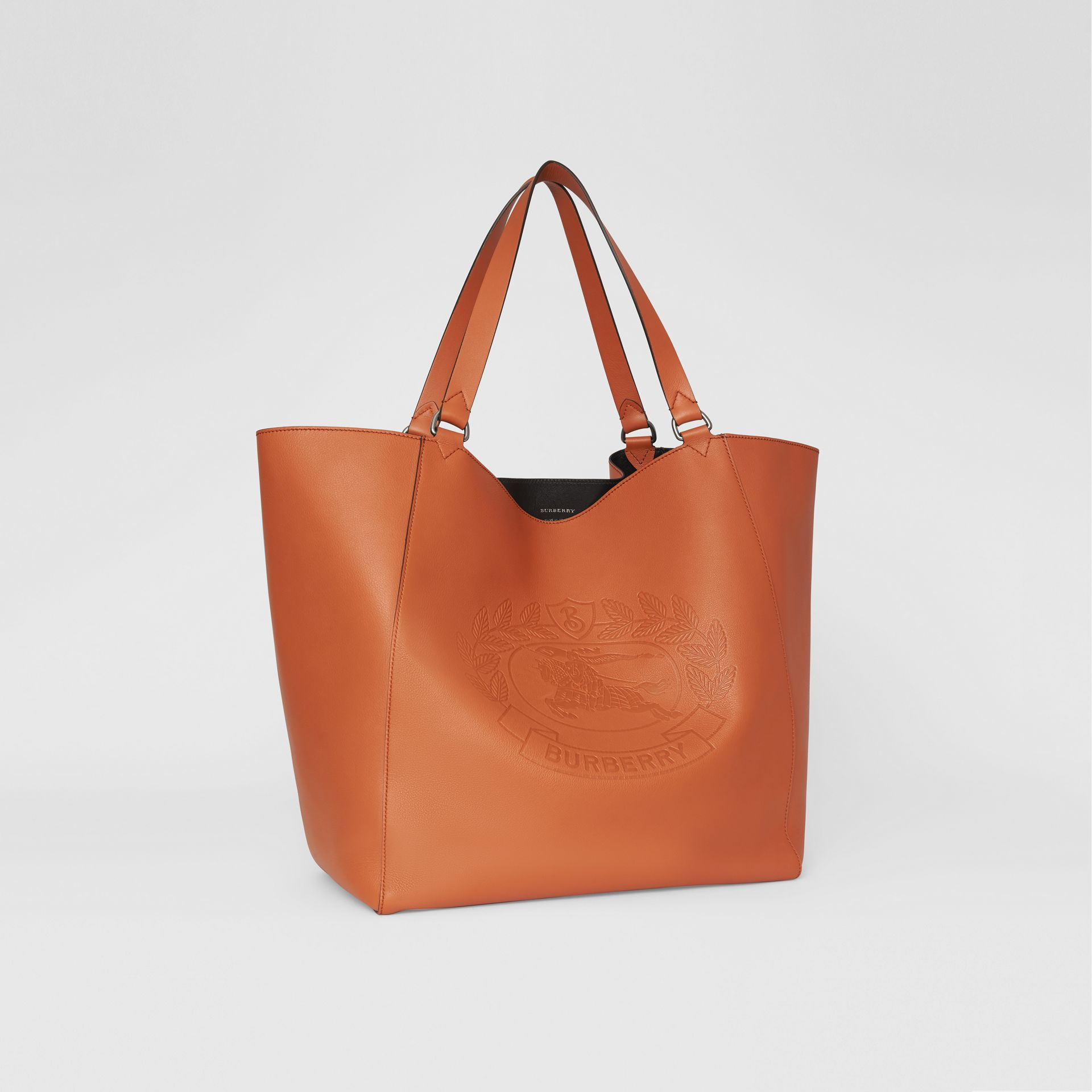 Large Embossed Crest Bonded Leather Tote in Bright Tan | Burberry - gallery image 4