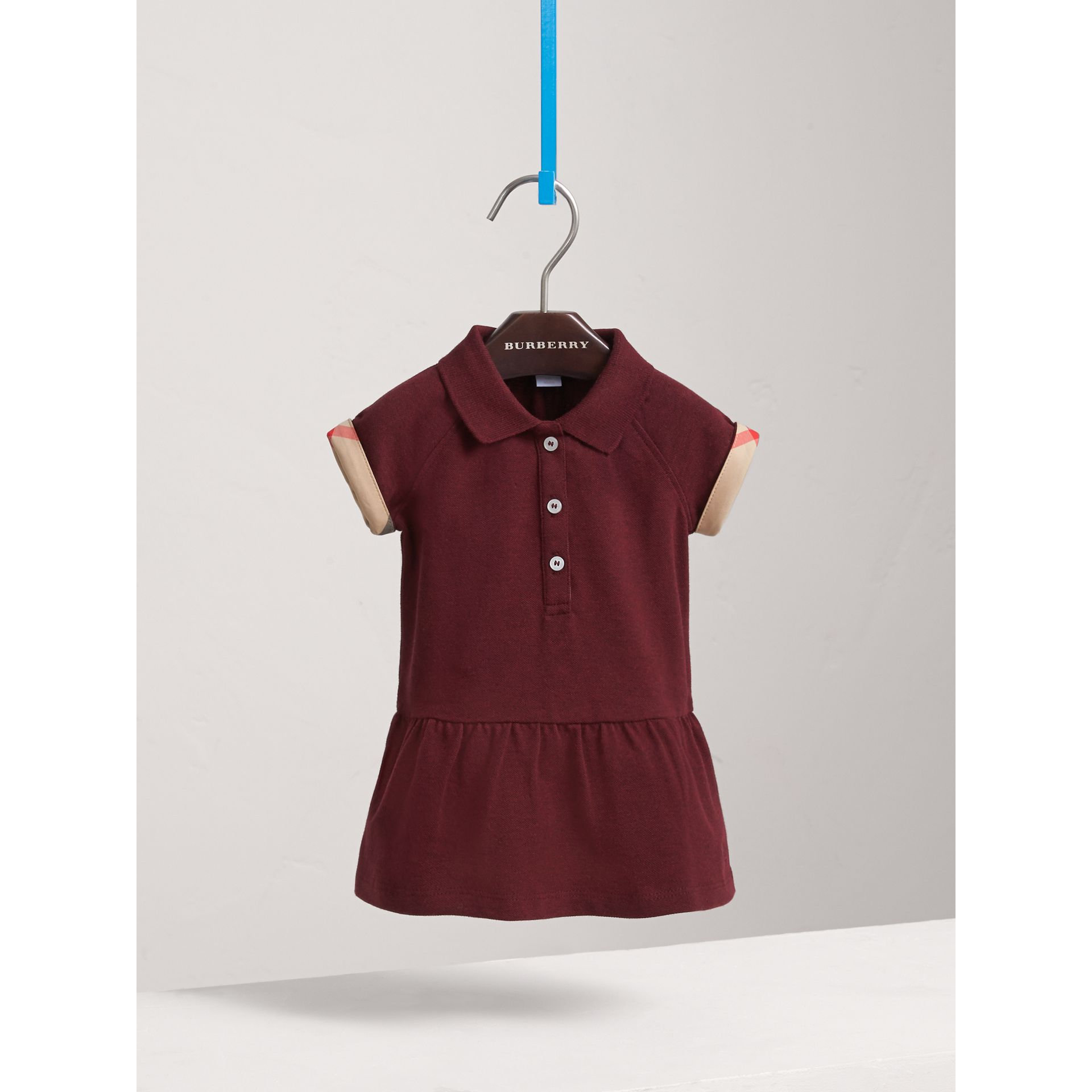 Check Detail Cotton Piqué Shirt Dress in Burgundy Melange | Burberry - gallery image 3