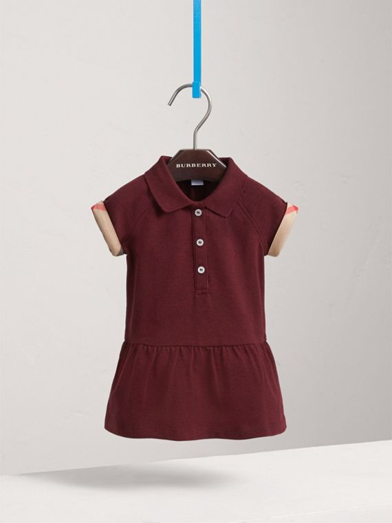 Check Detail Cotton Piqué Shirt Dress in Burgundy Melange | Burberry - cell image 2
