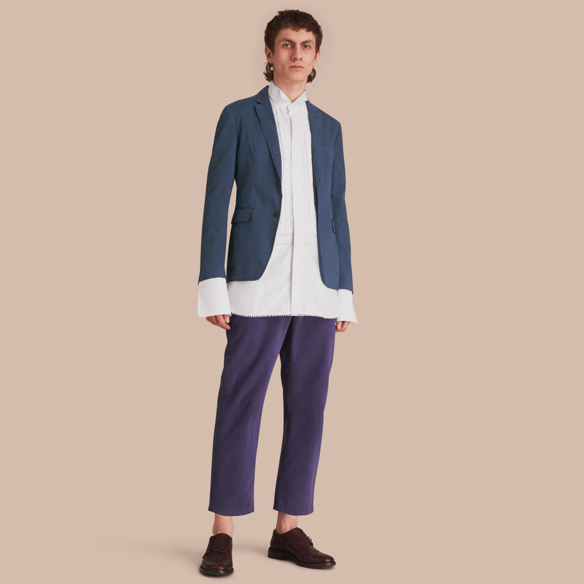 Slim Fit Stretch-cotton Blazer Navy - gallery image 1