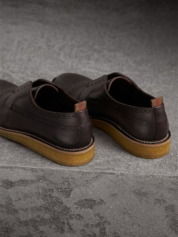 Raised Toe-cap Leather Brogues in Ebony - Men | Burberry Singapore - cell image 2