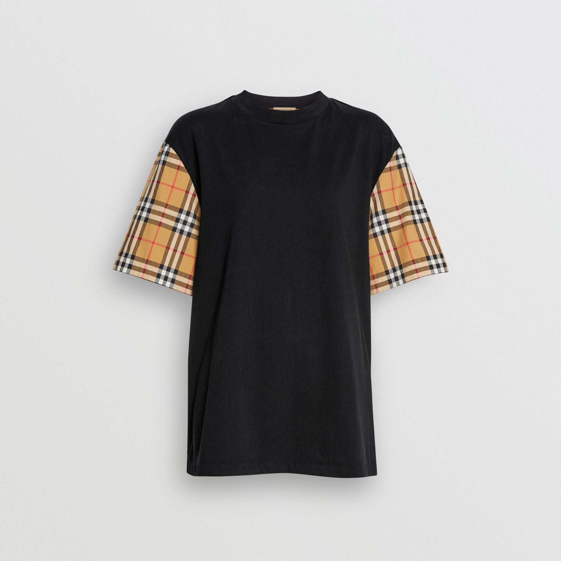 Vintage Check-sleeve Cotton Oversized T-shirt in Black - Women | Burberry Canada - gallery image 3