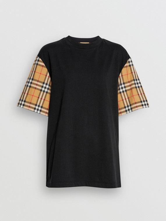 Vintage Check-sleeve Cotton Oversized T-shirt in Black