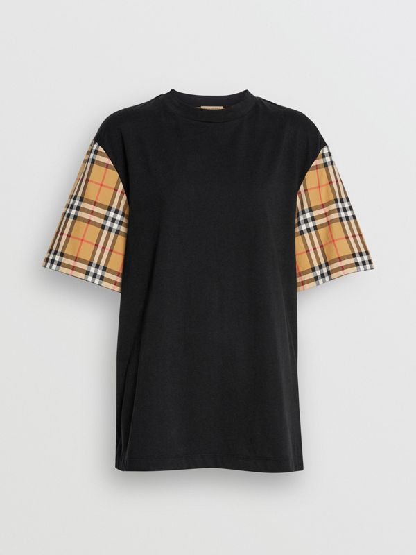 Vintage Check-sleeve Cotton Oversized T-shirt in Black - Women | Burberry Canada - cell image 3