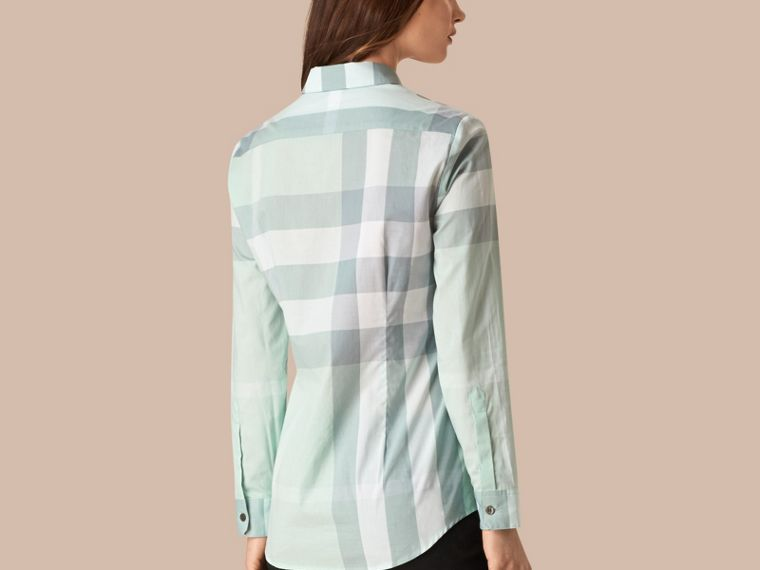 Powder blue Check Cotton Shirt Powder Blue - cell image 1