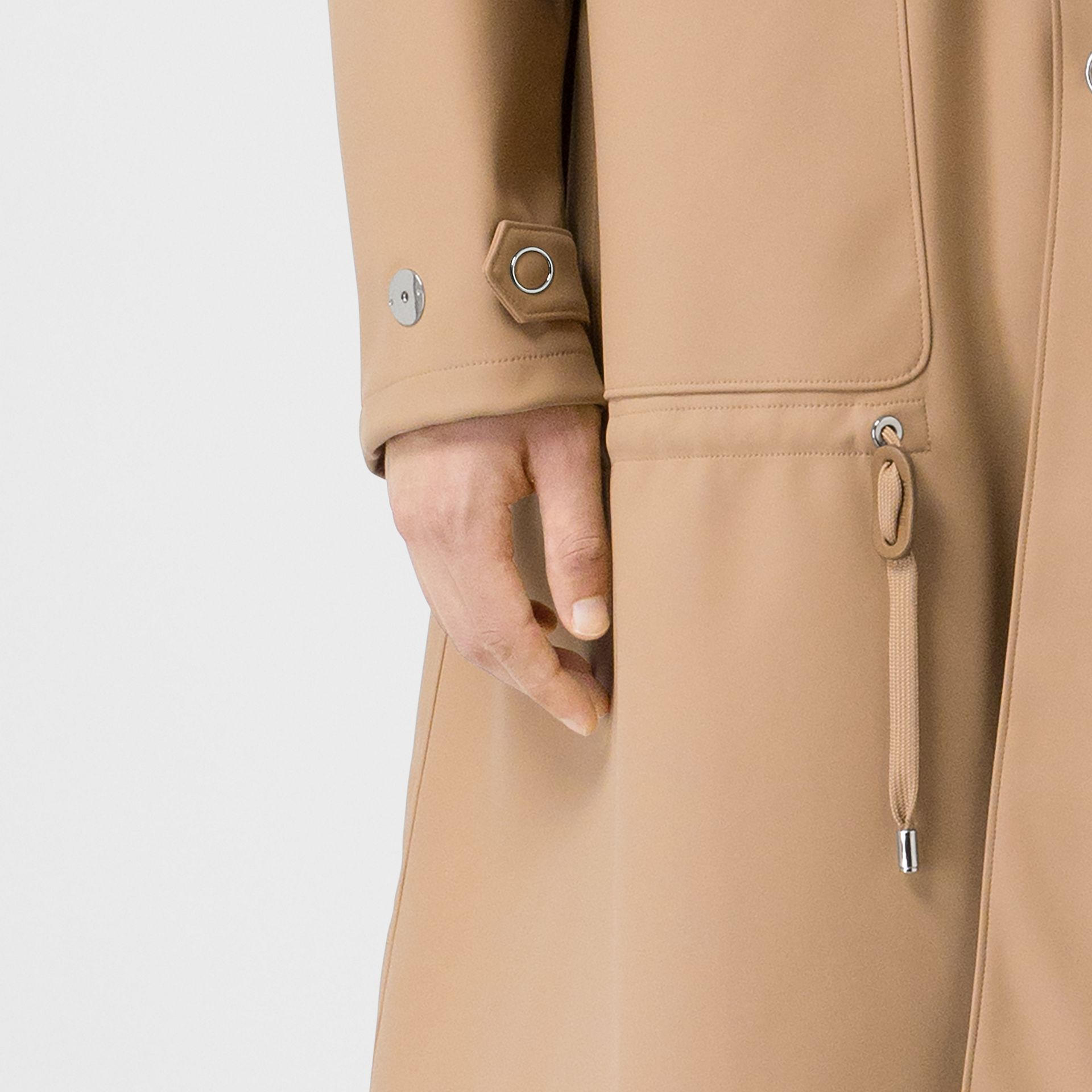 Detachable Hood Rubberised Parka in Honey | Burberry - gallery image 1