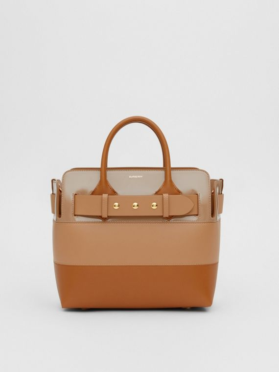 The Small Panelled Leather Triple Stud Belt Bag in Soft Fawn/biscuit