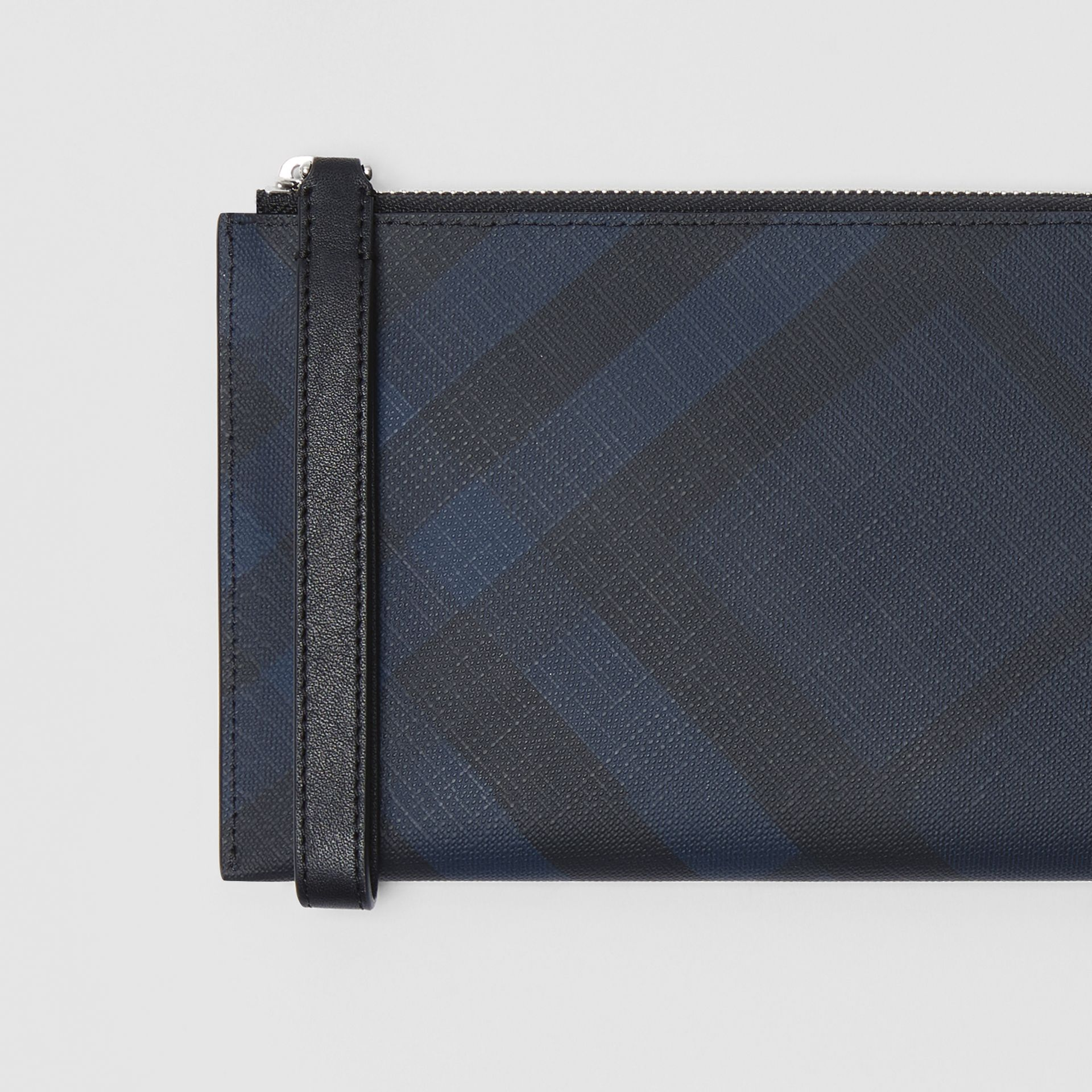 London Check and Leather Travel Wallet in Navy/black - Men | Burberry Hong Kong S.A.R - gallery image 1