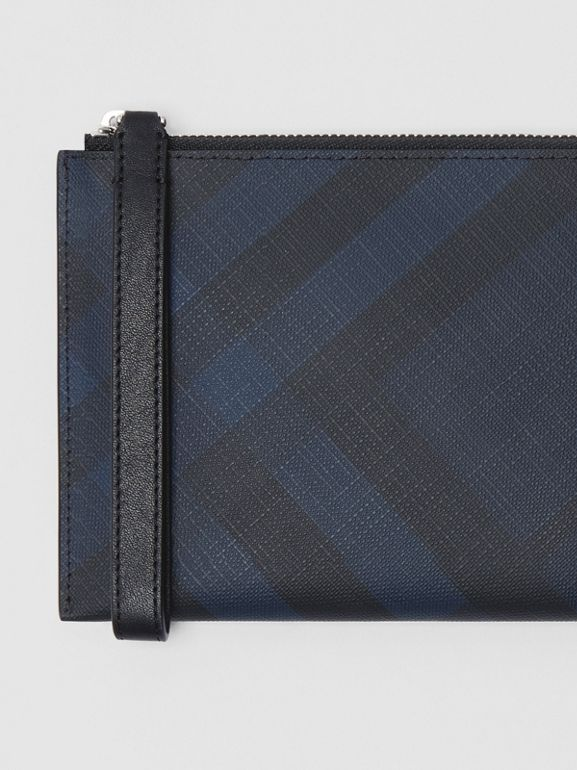 London Check and Leather Travel Wallet in Navy/black - Men | Burberry Hong Kong S.A.R - cell image 1