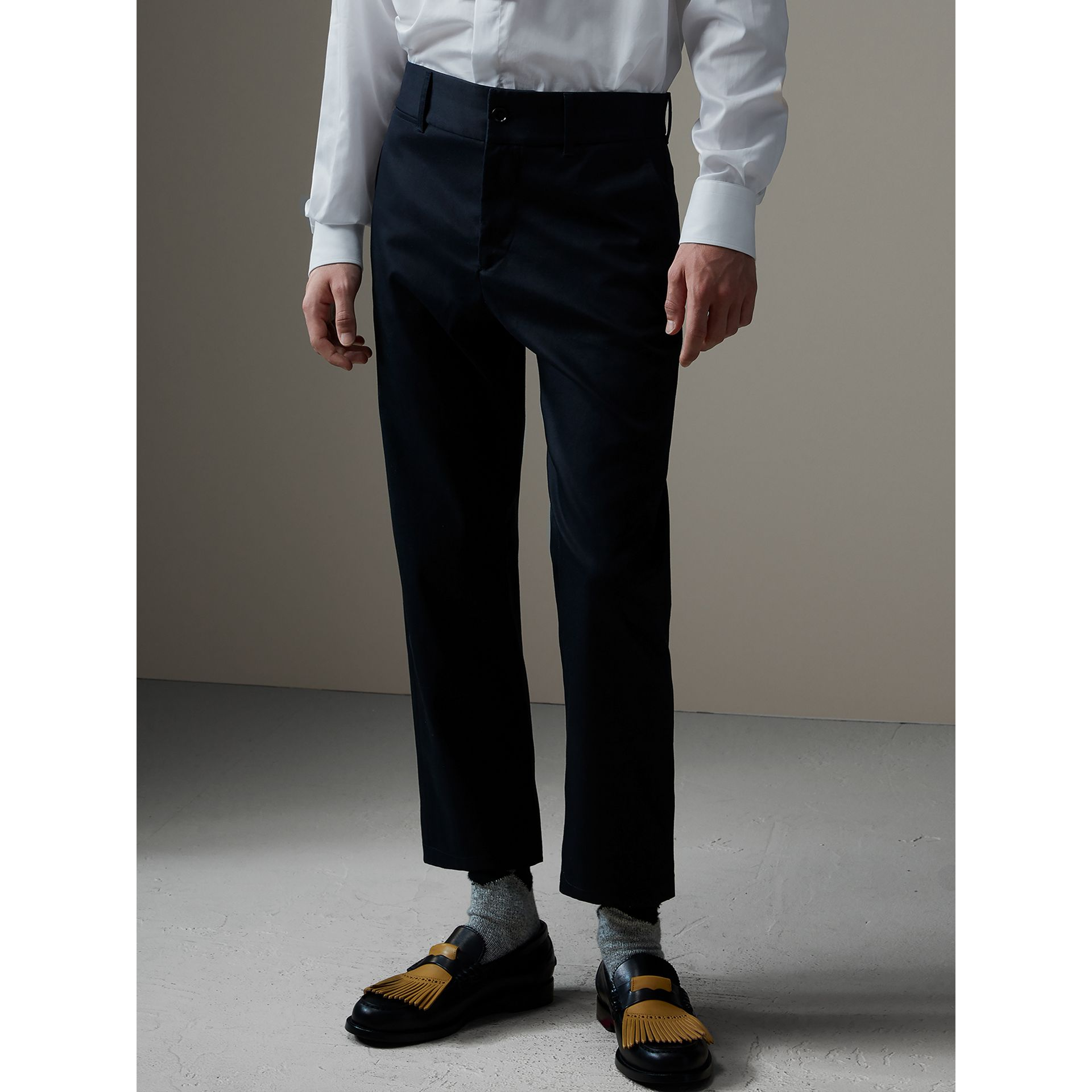 Cotton Twill Cropped Chinos in Navy - Men | Burberry Singapore - gallery image 7
