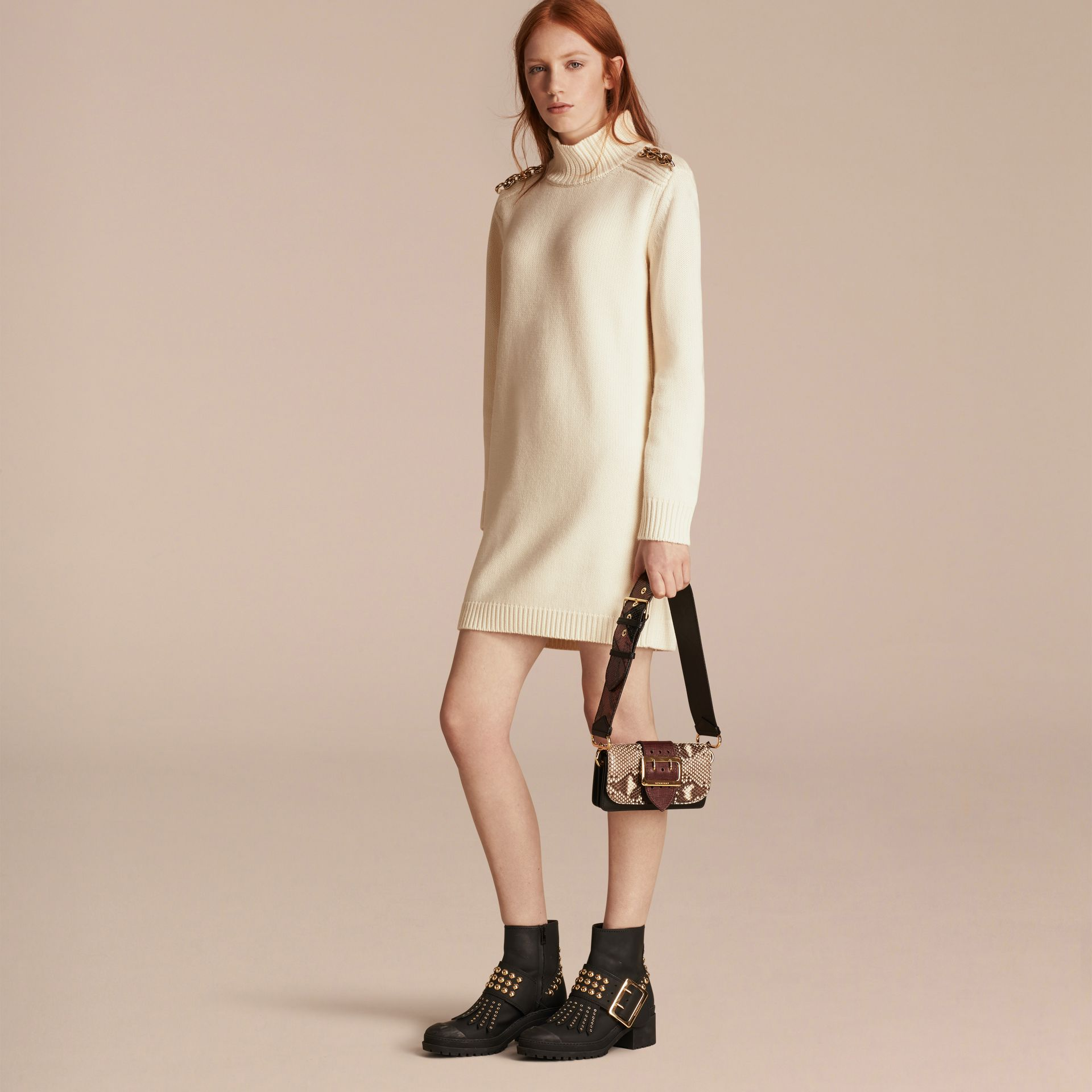 Chain Detail Wool Cashmere High-neck Dress in Natural White - gallery image 6