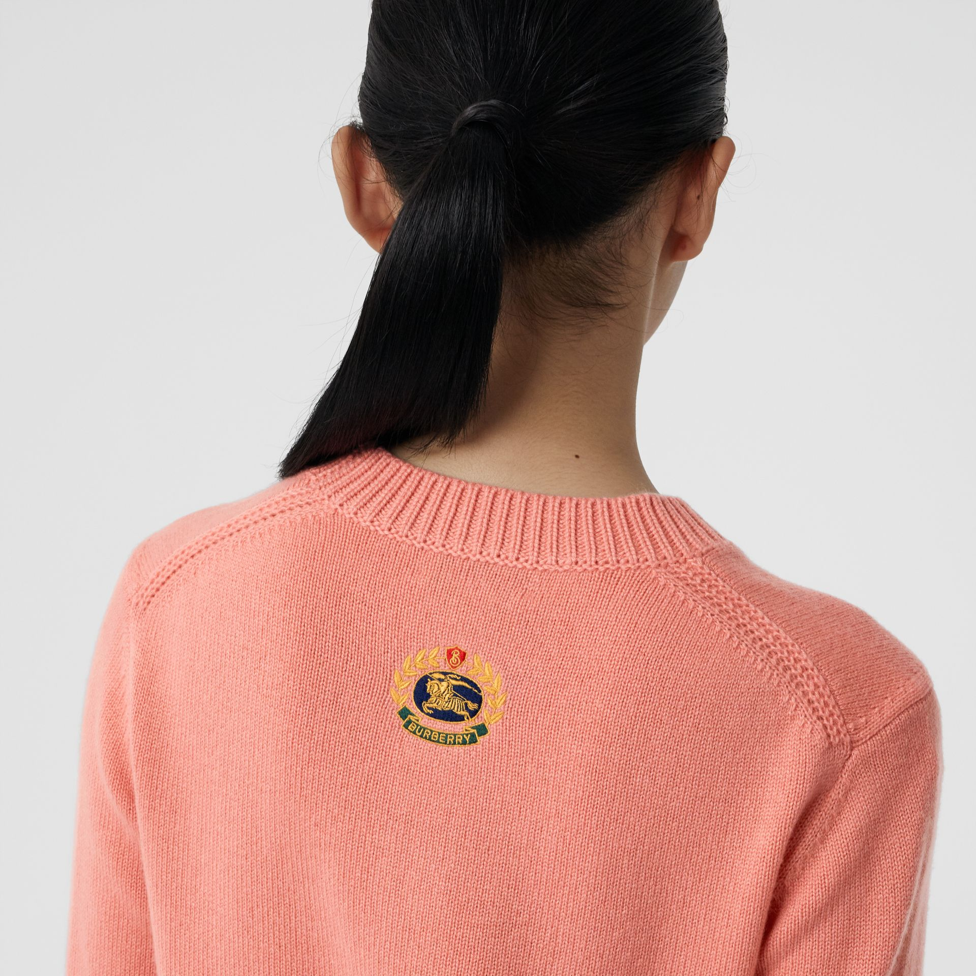 Archive Logo Appliqué Cashmere Sweater in Bright Coral Pink - Women | Burberry United Kingdom - gallery image 1