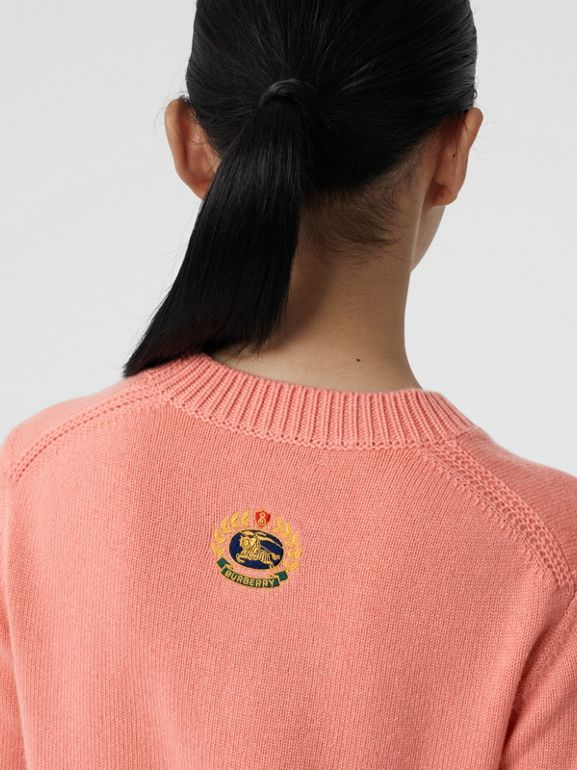 Archive Logo Appliqué Cashmere Sweater in Bright Coral Pink - Women | Burberry United Kingdom - cell image 1