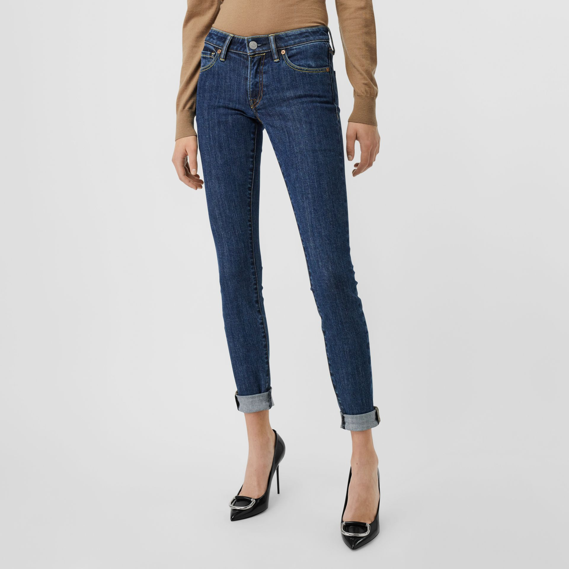 Skinny Fit Japanese Denim Jeans in Blue - Women | Burberry - gallery image 0