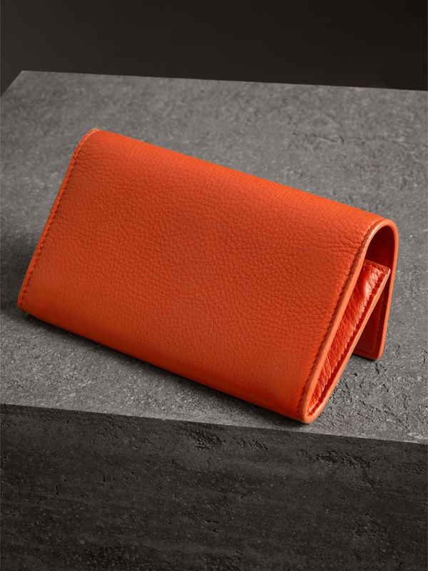 Embossed Leather Continental Wallet in Dark Clementine - Women | Burberry - cell image 2