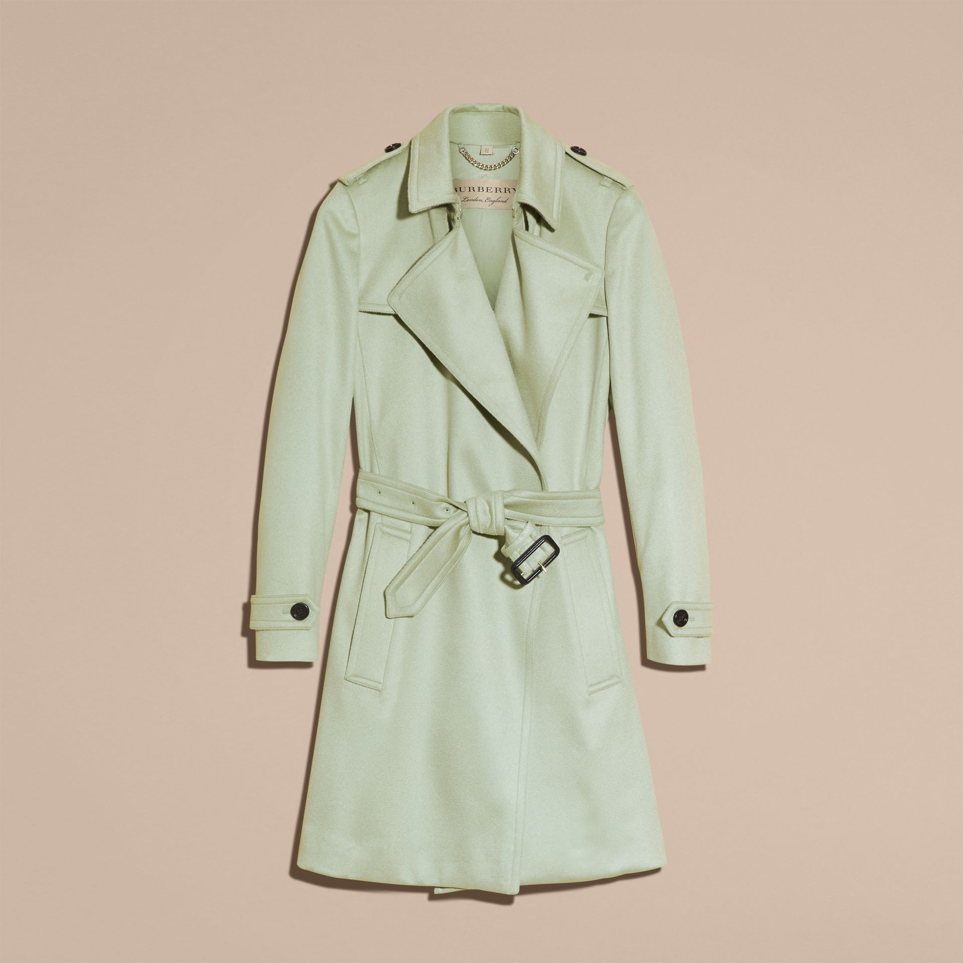 Pale eucalyptus Cashmere Wrap Trench Coat - gallery image 4