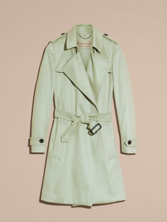 Pale eucalyptus Cashmere Wrap Trench Coat - cell image 3