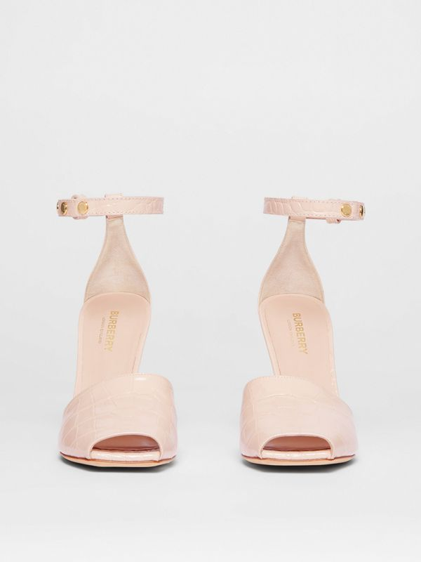 Triple Stud Embossed Leather Peep-toe Sandals in Rose Beige - Women | Burberry - cell image 3