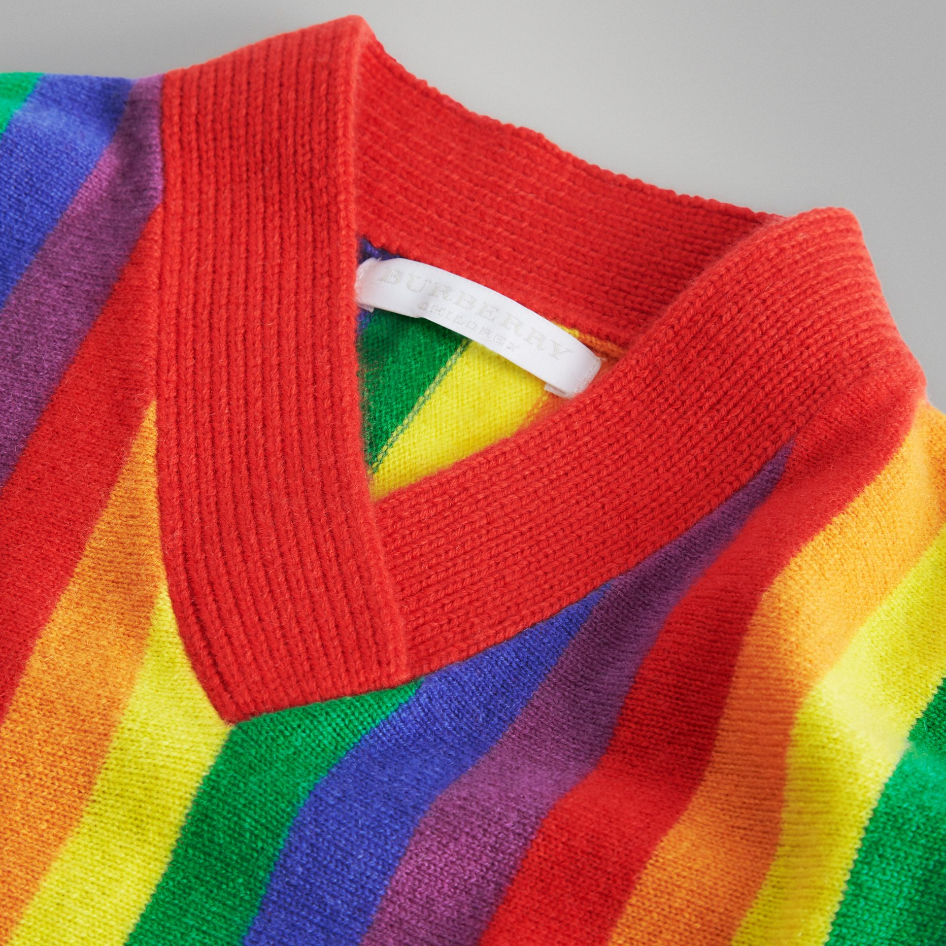 Striped Wool Cashmere Sweater in Multicolour | Burberry - gallery image 4