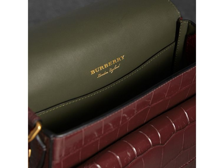 The Square Satchel in Alligator in Dark Plum - Women | Burberry United Kingdom - cell image 4