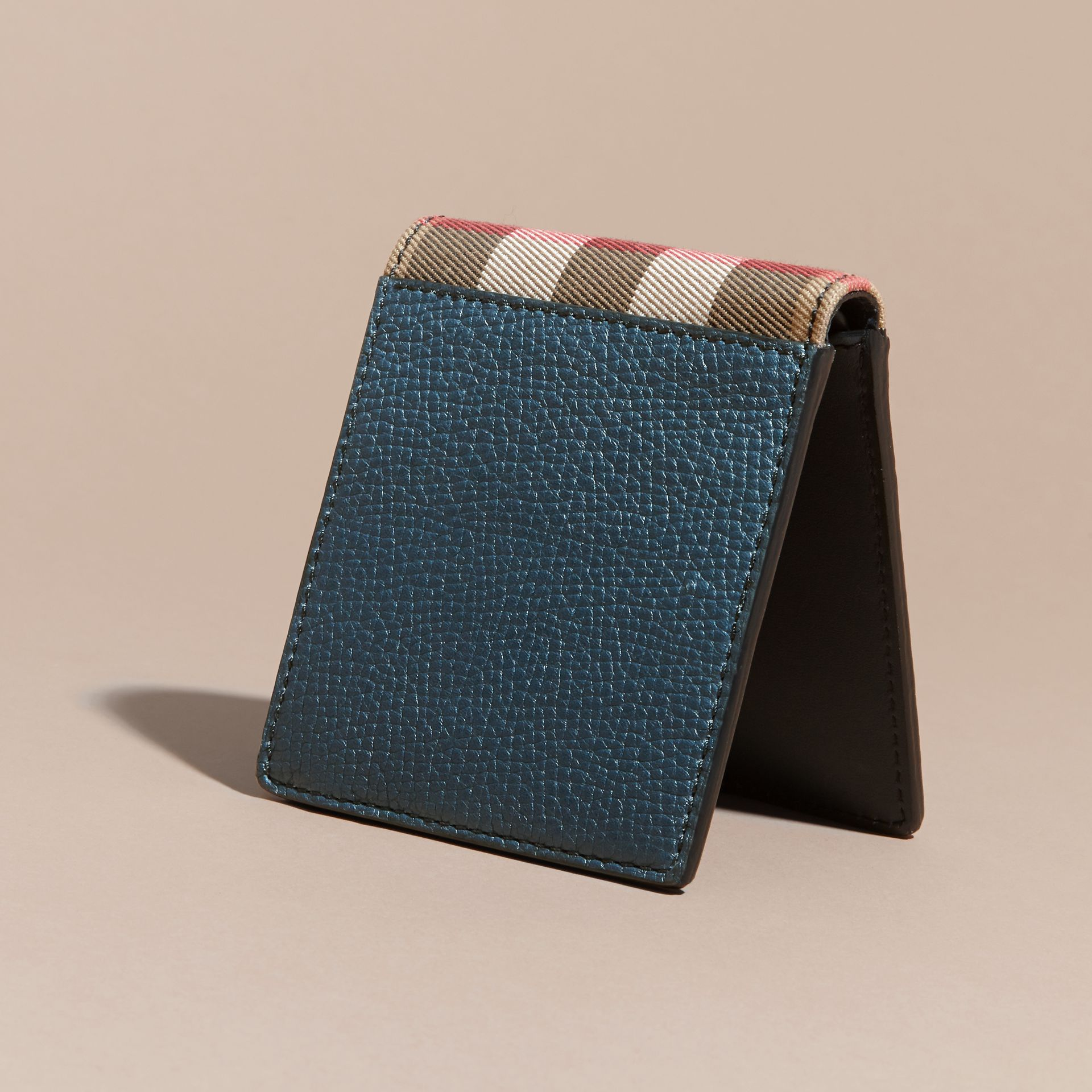 Leather and House Check International Bifold Wallet in Storm Blue | Burberry - gallery image 5