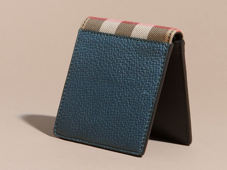 Leather and House Check Folding Wallet Storm Blue - cell image 4