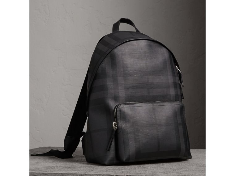 Leather Trim London Check Backpack in Charcoal/black - Men | Burberry - cell image 4