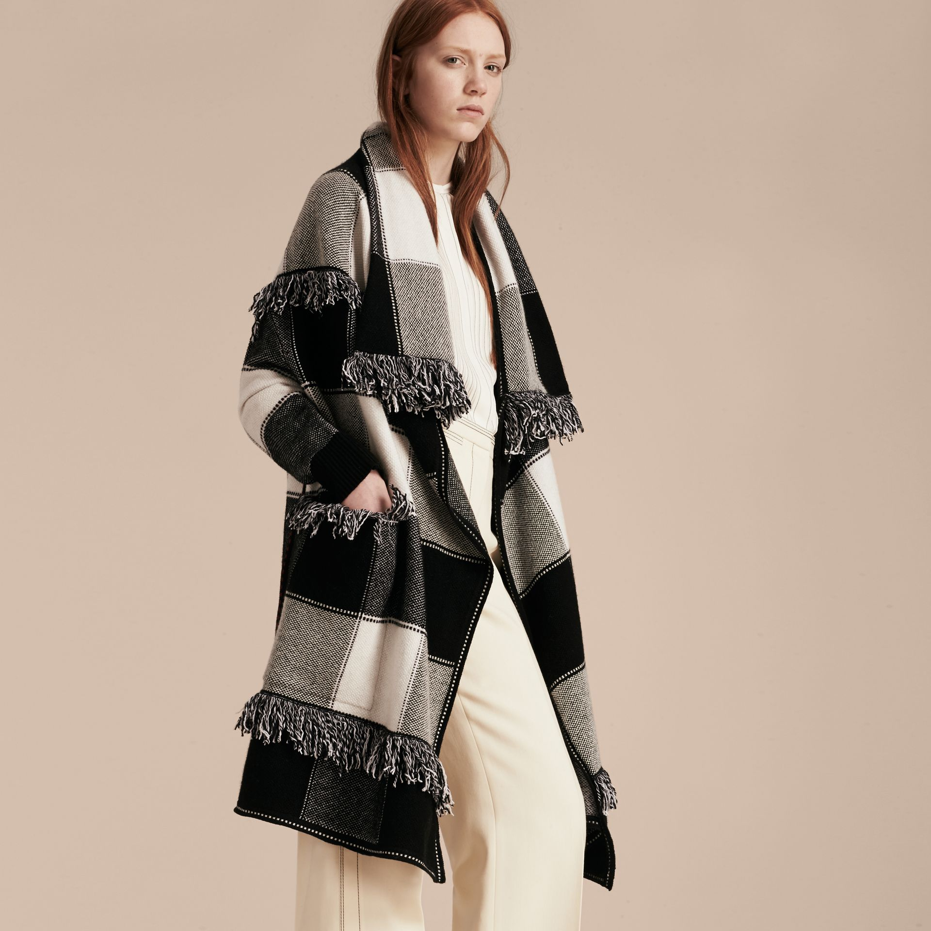 Black/white Check Wool Cashmere Knit Coat - gallery image 7