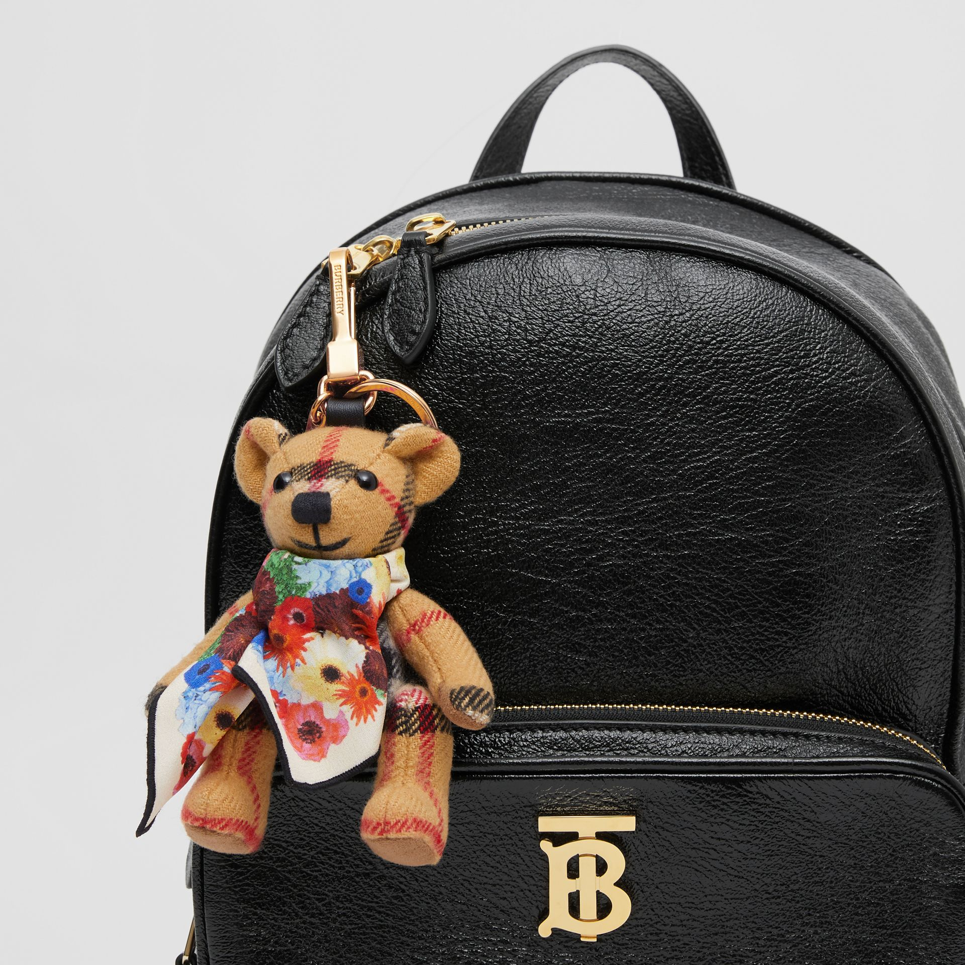 Thomas Bear Charm with Floral Silk Scarf in Antique Yellow - Women | Burberry United Kingdom - gallery image 4