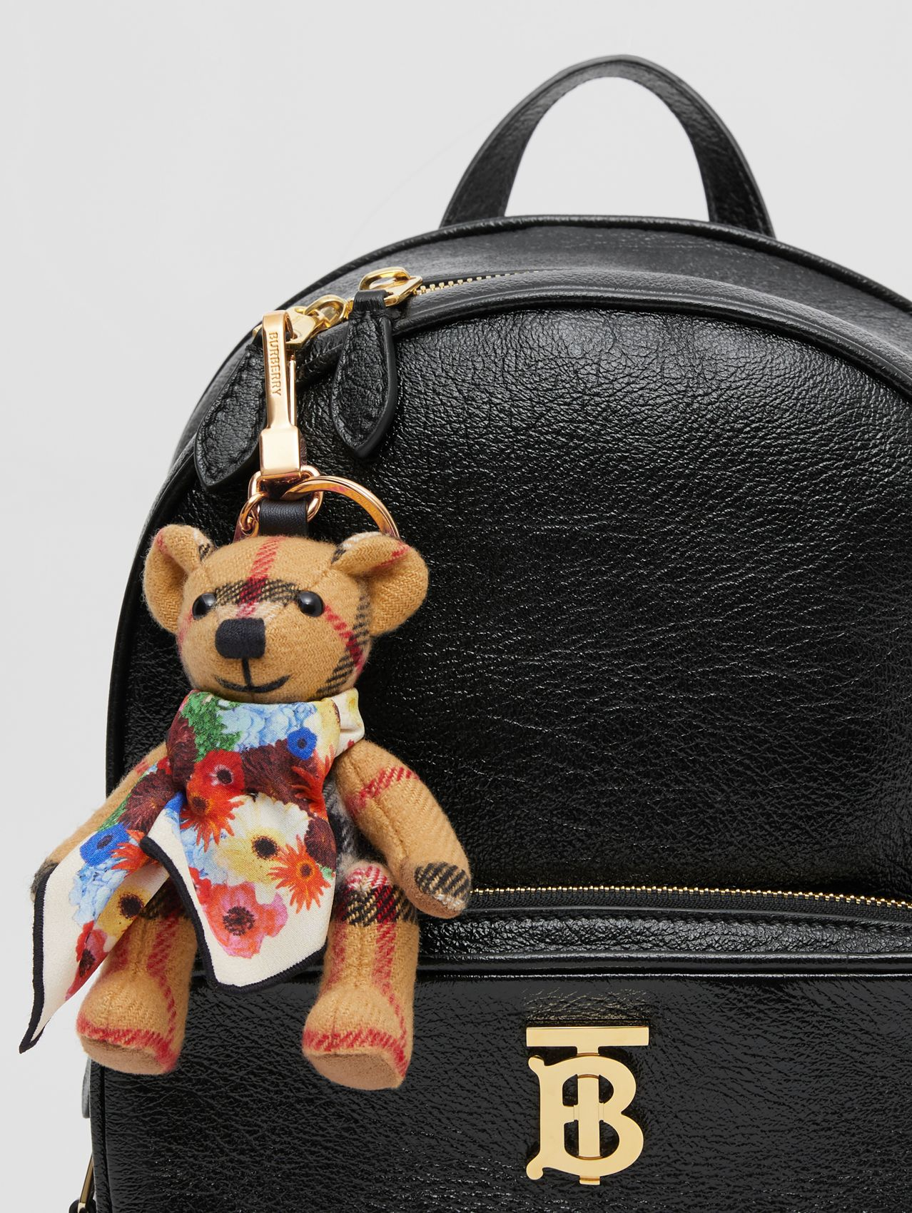Thomas Bear Charm with Floral Silk Scarf (Antique Yellow)
