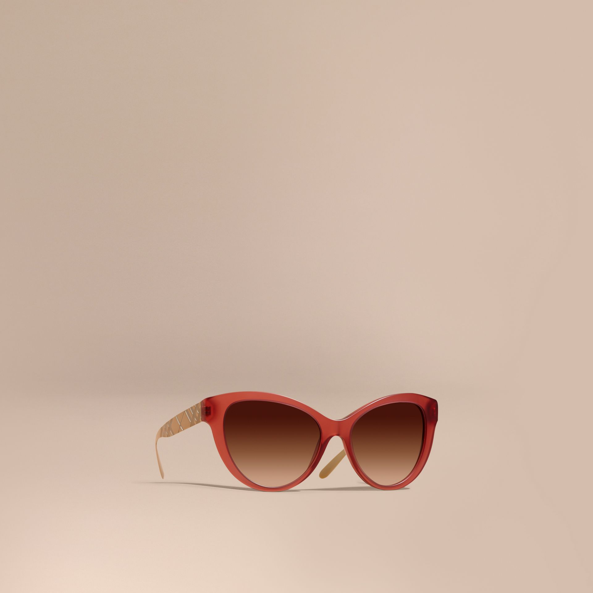 Red 3D Check Cat-eye Sunglasses Red - gallery image 1