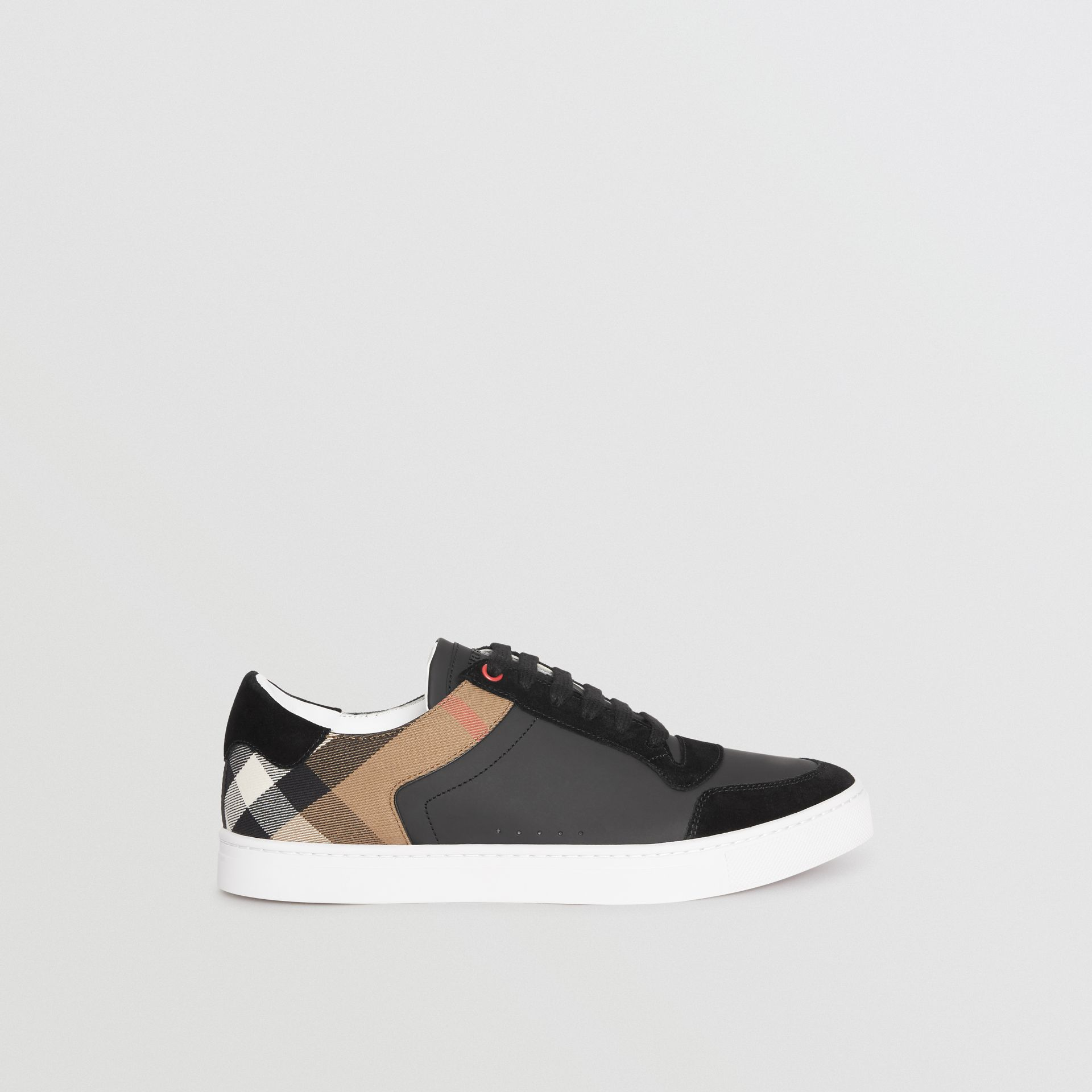 Leather and House Check Sneakers in Black - Men | Burberry United Kingdom - gallery image 5