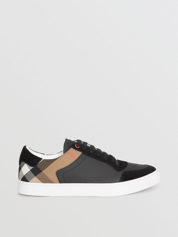 Leather and House Check Sneakers in Black