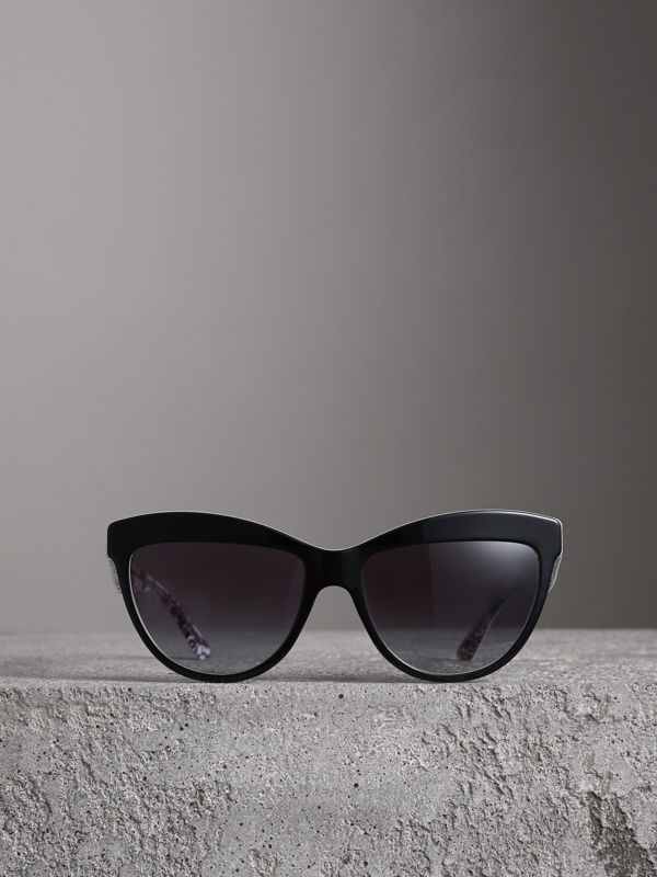 Doodle Cat-eye Frame Sunglasses in Black - Women | Burberry United Kingdom - cell image 3