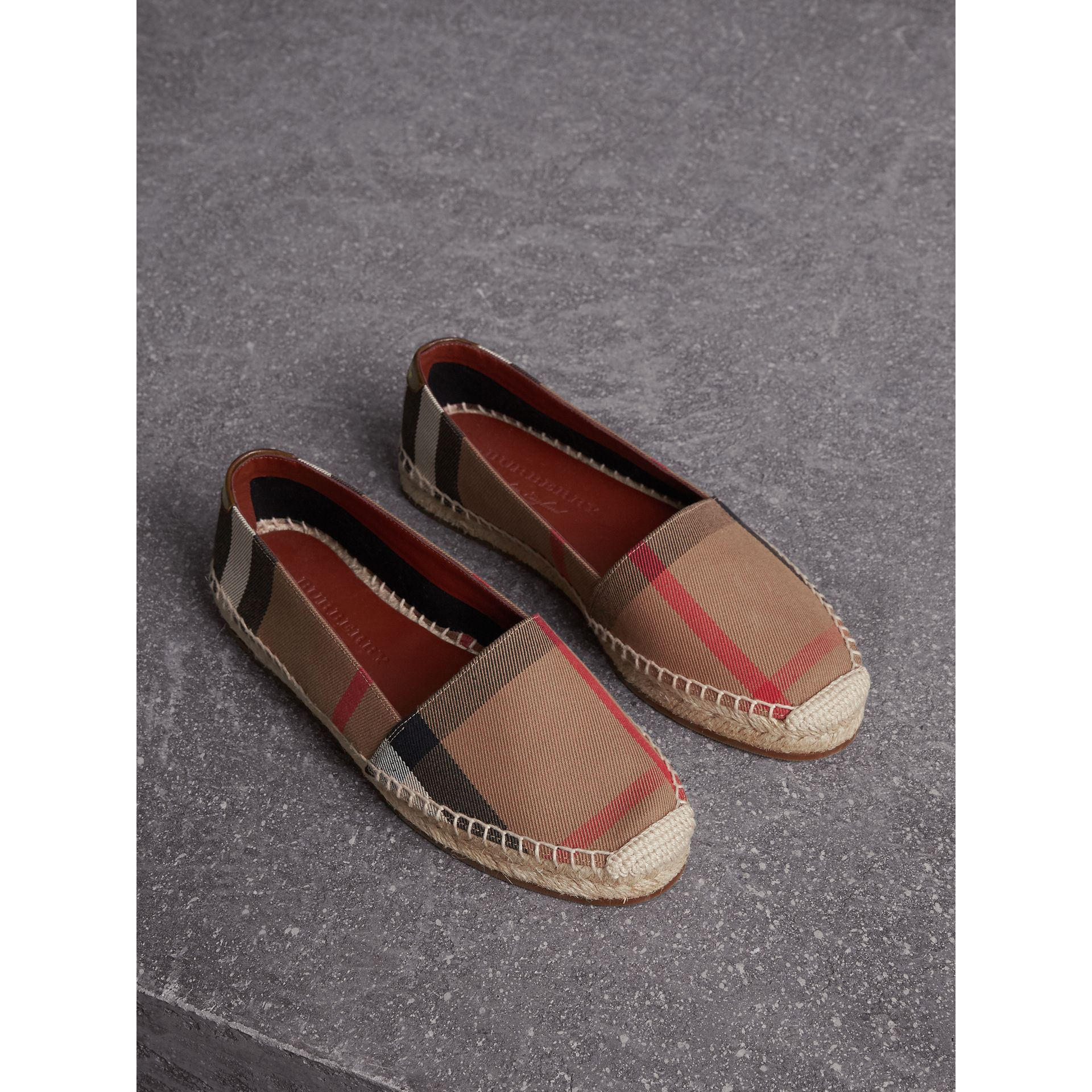 Check Linen Cotton Espadrilles in Dark Tan - Women | Burberry Singapore - gallery image 1